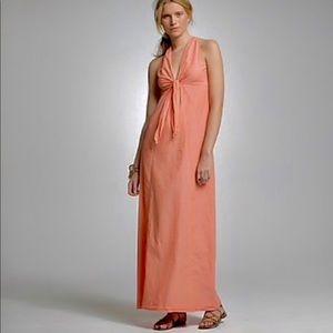 J Crew Chambray Tie Front Orange Maxi Dress S